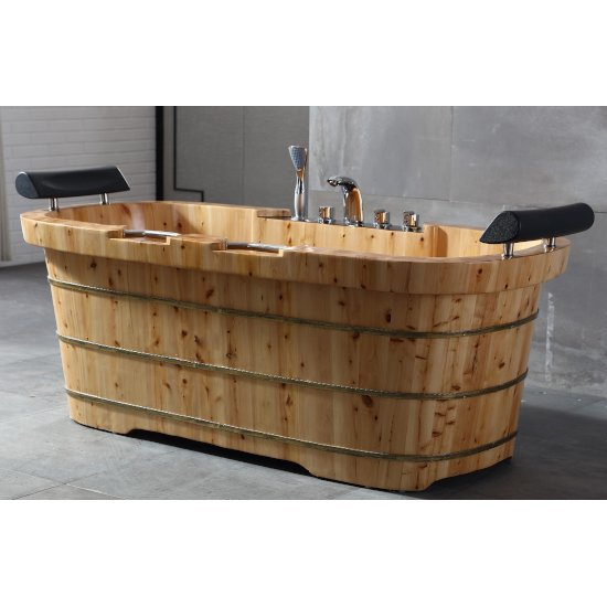 "65"" 2 Person Cedar Bathtub"