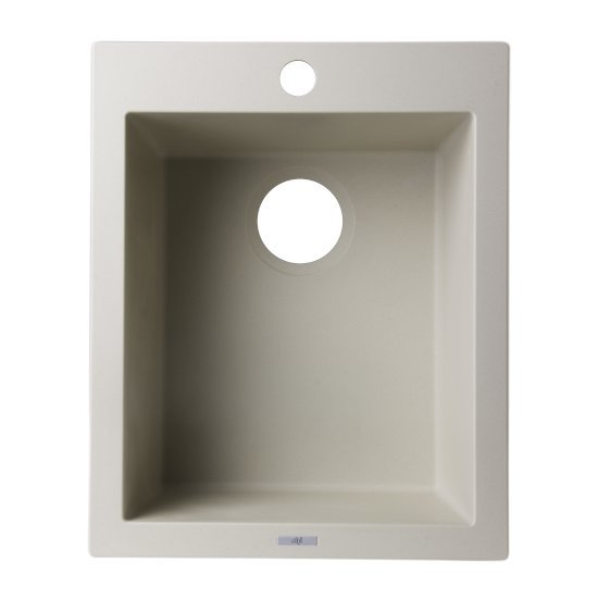 "Alfi brand Biscuit 17"" Drop-In Rectangular Granite Composite Kitchen Prep Sink, 16-1/8"" W x 19-7/8"" D x 8-1/4"" H"