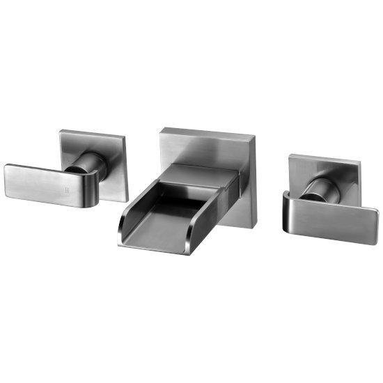 Alfi brand Brushed Nickel Widespread Wall Mounted Modern Waterfall Bathroom Faucet