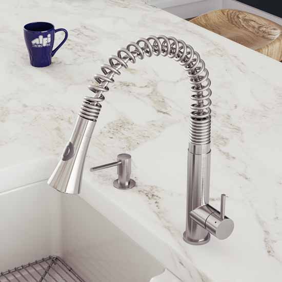 S/Steel Spring Faucet w/ Pull Down Shower Spray