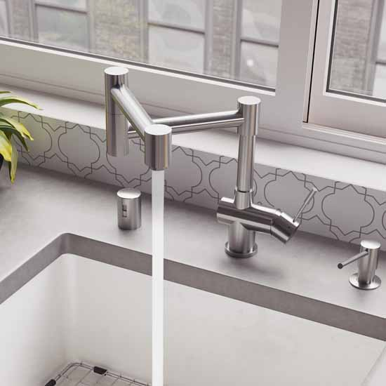 Lifestyle View - Brushed S/Steel Retractable Faucet