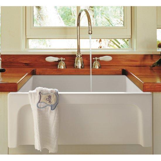 "Alfi brand 24"" White Arched Apron Thick Wall Fireclay Single Bowl Farm Sink, 23-5/8"" W x 18"" D x 10"" H"