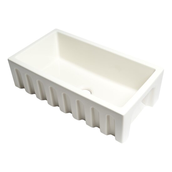 "ALFI brand 33"" x 18"" Reversible Fluted / Smooth Fireclay Farm Sink in Biscuit, 31-1/8"" W x 18-1/8"" D x 10"" H"