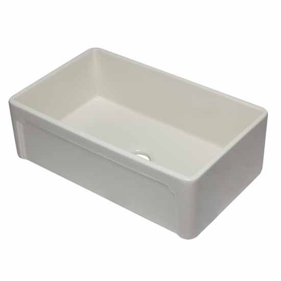"Alfi brand 33"" Biscuit Reversible Single Fireclay Farmhouse Kitchen Sink, 32-5/8"" W x 20-7/8"" D x 9-7/8"" H"