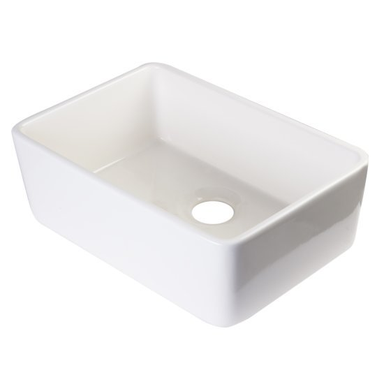 "Alfi brand 24"" Biscuit Single Bowl Fireclay Undermount Kitchen Sink, 23-3/8"" W x 16-1/8"" D x 8"" H"