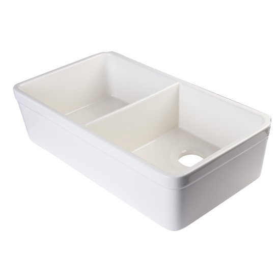 """Alfi brand Biscuit 32"""" Double Bowl Lip Apron Fireclay Farmhouse Kitchen Sink with 1-3/4"""" Lip, 31-3/4"""" W x 17-3/4"""" D x 8"""" H"""