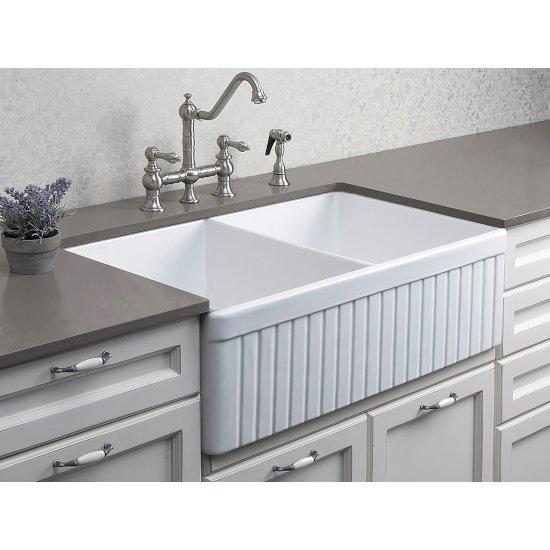 "Alfi brand White 32"" Fluted Apron Double Bowl Fireclay Farmhouse Kitchen Sink, 32-3/4"" W x 19-7/8"" D x 10"" H"