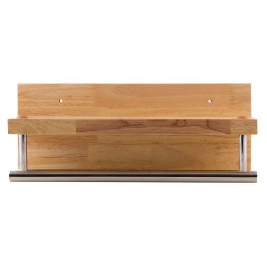 "Alfi brand 16"" Wooden Shelf with Chrome Towel Bar Bathroom Accessory, 15-3/4"" W x 5-7/8"" D x 4-3/4"" H"