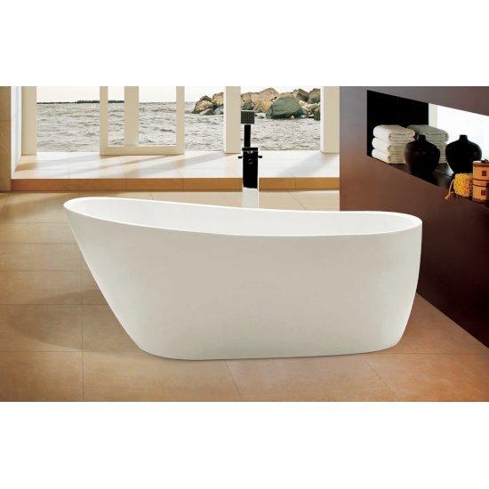 "68"" White Oval Acrylic Soaking Bathtub"