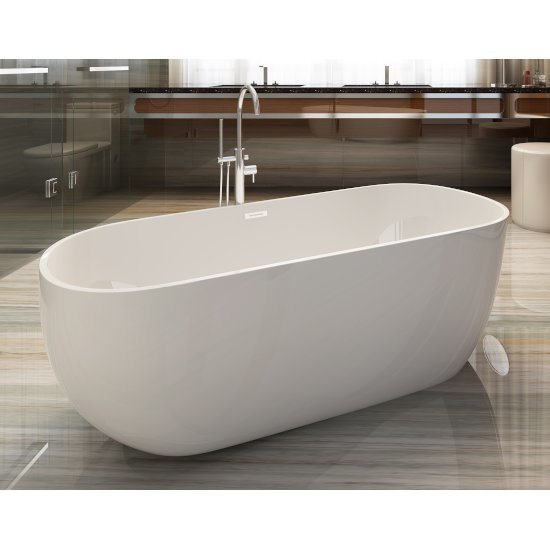 "59"" White Oval Acrylic Soaking Bathtub"