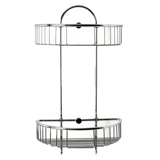 "Alfi brand Polished Chrome Wall Mounted Double Basket Shower Shelf Bathroom Accessory, 11"" W x 5-7/8"" D x 16-1/2"" H"