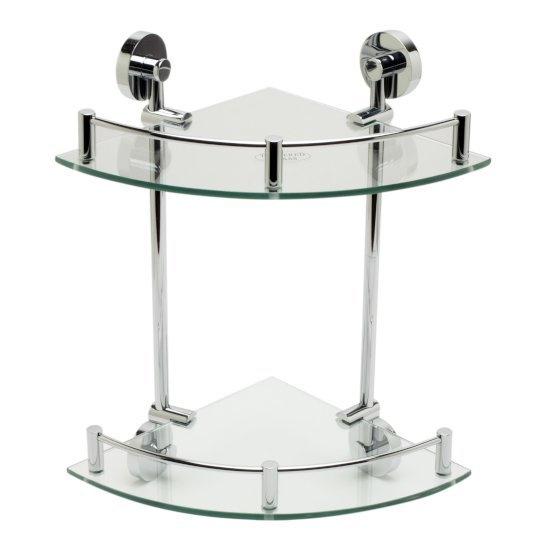 "Alfi brand Polished Chrome Corner Mounted Double Glass Shower Shelf Bathroom Accessory, 12-3/4"" W x 10-1/2"" D x 9-5/8"" H"