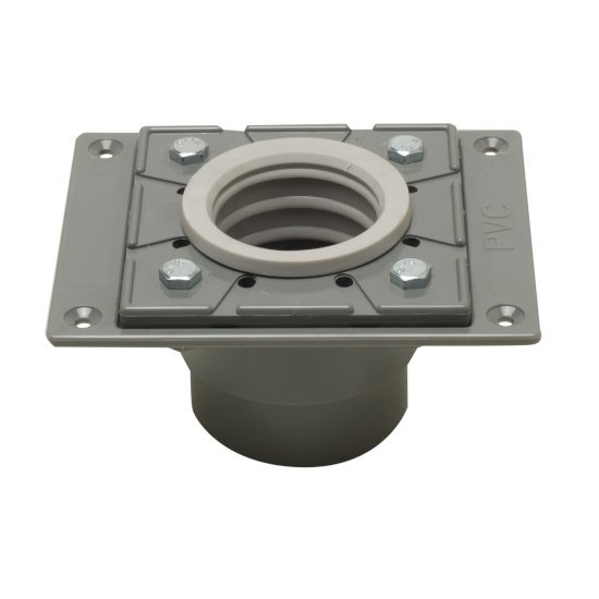 "Alfi brand PVC Shower Drain Base with Rubber Fitting, 5-5/8"" W x 4-3/8"" D x 3"" H"