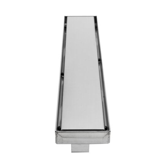 "ALFI brand 24"" Modern Linear Shower Drain with Solid Cover in Polished Stainless Steel, 24"" W x 3"" D x 3-1/8"" H"