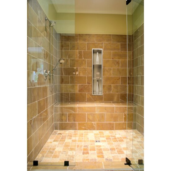 "ALFI brand 8"" x 36"" Vertical Triple Shelf Bath Shower Niche in Brushed Stainless Steel, 8"" W x 4"" D x 36"" H"