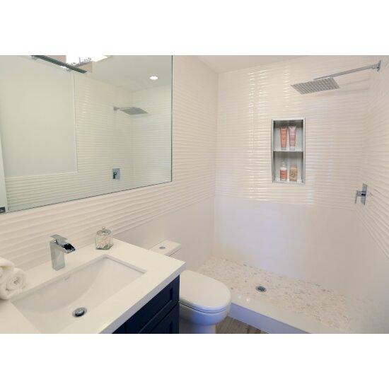 "ALFI brand 12"" x 24"" Vertical Double Shelf Bath Shower Niche in Brushed Stainless Steel, 12"" W x 4"" D x 24"" H"