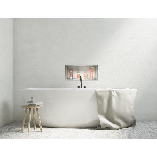 "ALFI brand 24"" x 12"" Horizontal Single Shelf Bath Shower Niche in Brushed Stainless Steel, 24"" W x 4"" D x 12"" H"