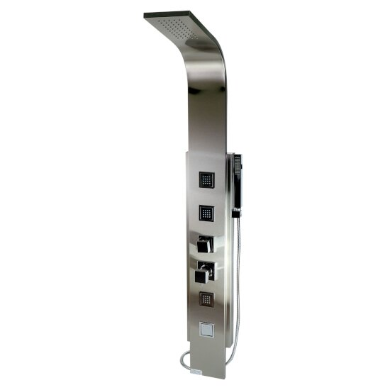 """ALFI brand Modern Shower Panel with 4 Body Sprays in Brushed Stainless Steel, 7-7/8"""" W x 17-3/4"""" D x 59"""" H"""