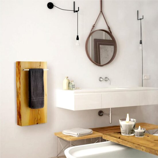 "ALFI brand 16"" x 32"" Live Edge Cedar Wood Vertical Towel Warmer in Polished Chrome, 15-3/4"" W x 5"" D x 31-1/2"" H"