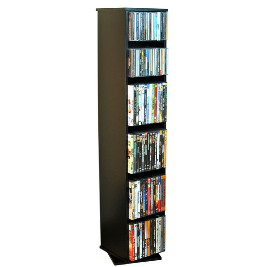 American Furnishings Revolving Media Library 10'' W x 10'' D x 48'' H, Black