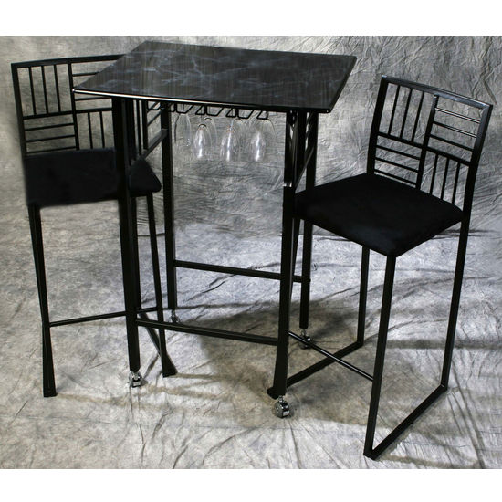 Black Faux Marble Dining Table Set