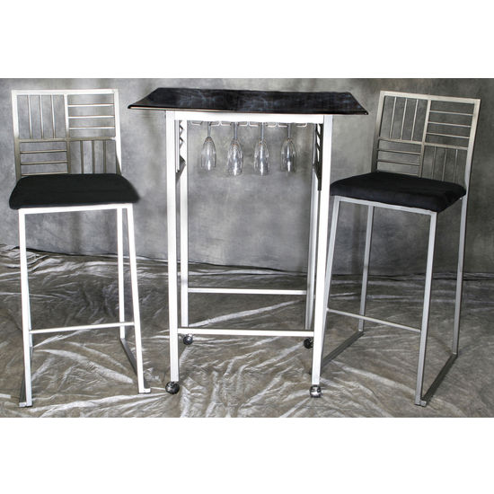 Dining sets black faux marble table w nickel base and for Fake kitchen set