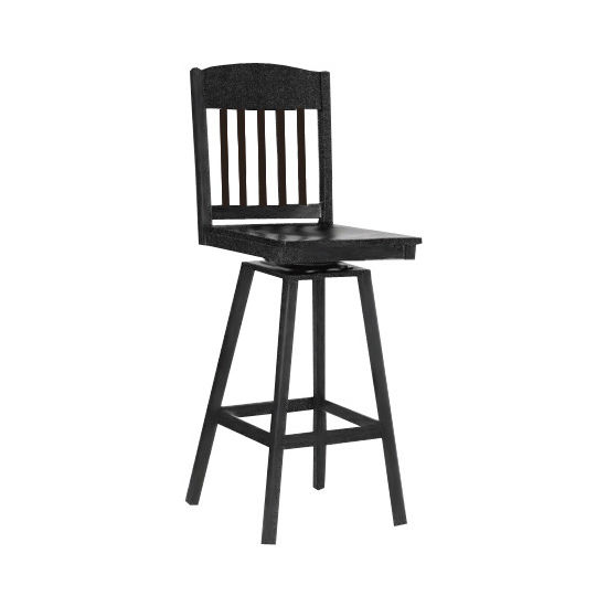Empire Metal Swivel Bar Stool with Wood Seat and Back