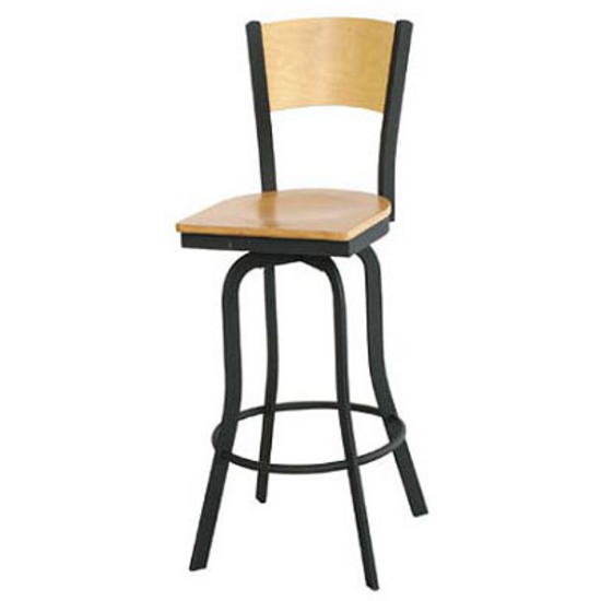 Alston Cardinal Textured Black Metal Bar Stool with Foot Rail and Mahogany Wood Back and Swivel Seat
