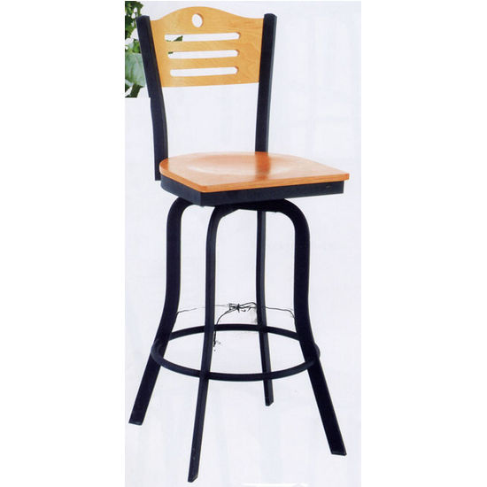 Admiral Swivel Bar Stool with Black Metal Frame & Natural Wood Seat and Backrest by Alston
