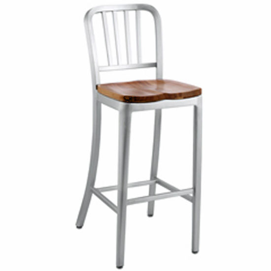 "Alunimun Dining Stool with Natural Wood Seat 45-1/2"" H"