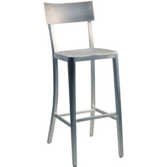 Melanie Brushed Aluminum Bar & Counter Stools with Molded Seats by Alston