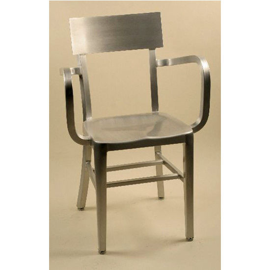 "Alston Melanie Brushed Aluminum Armchair with Molded Seat 15-1/4""Wx15""Dx33-3/4""H (arms-22)"