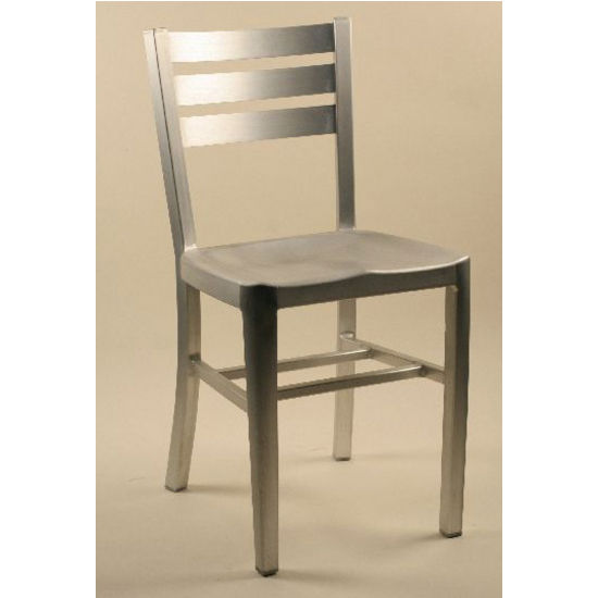 Diana Brushed Aluminum Dining Chair with Ladderback & Molded Seat by Alston