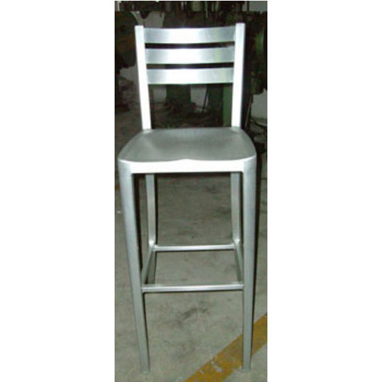 Diana Brushed Aluminum Bar Stool with Ladderback & Molded Seat by Alston