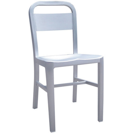 Danish Brushed Aluminum Dining Chair with Molded Seat by Alston