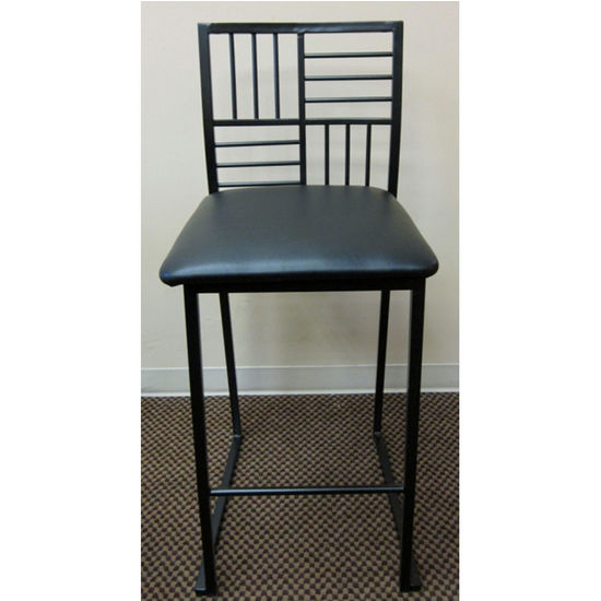 "Geometric Metal Stool with Dark Blue Fabric Seat 42"" H"