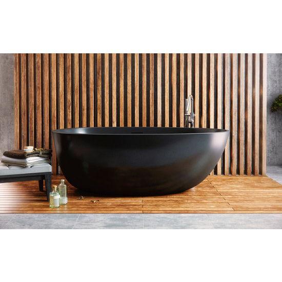 Aquatica PureScape AquateX™ Spoon 2 Egg Shaped Freestanding Solid Surface  Bathtub, Matte Black