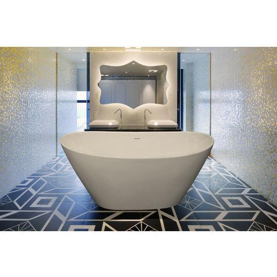 Aquatica PureScape EcoMarmor™ Freestanding Oval Cast Stone Bathtub, High Gloss White