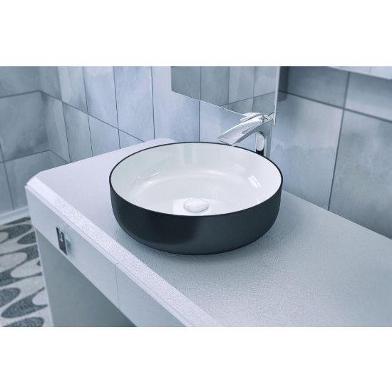 Ordinaire Aquatica Metamorfosi Round Ceramic Bathroom Vessel Sink, Black Outside,  White Inside