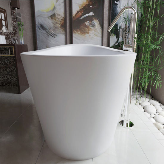Aquatica Colonna Floor Mounted Tub Filler Faucet, Brushed Nickel