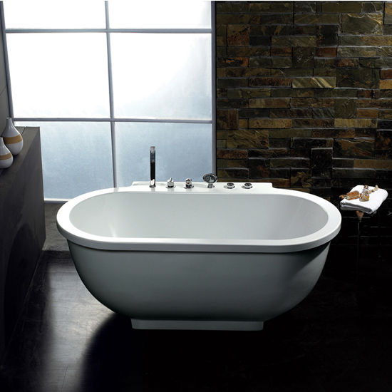 "ARIEL Platinum Collection Whirlpool Bathtub in White, 71"" W x 37-2/5"" D x 27-1/2"" H"