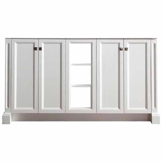 Ariel Westwood 61'' Double Sink Base Cabinet In White, 60''W x 21-1/2''D x 33-1/2''H