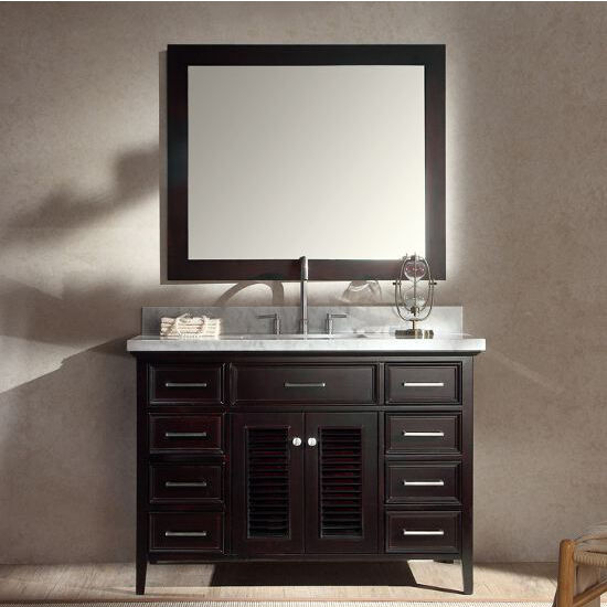 kensington single basin bathroom vanity with shutter style cabinet doors by ariel