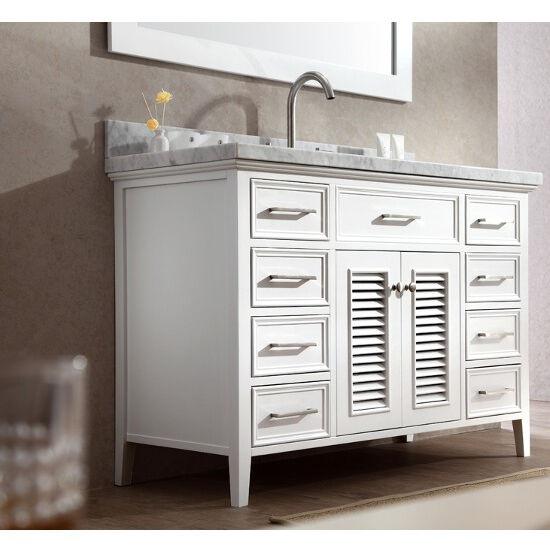 Kensington Single Basin Bathroom Vanity With Shutter Style Cabinet Doors By Ariel