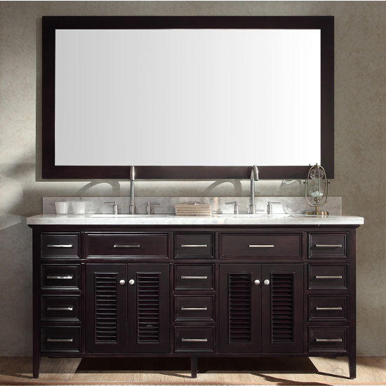 Kensington Double Basin Bathroom Vanity With Shutter Style Cabinet Doors By Ariel