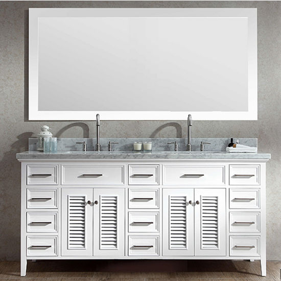 Front View & Kensington Double Basin Bathroom Vanity with Shutter Style Cabinet ...