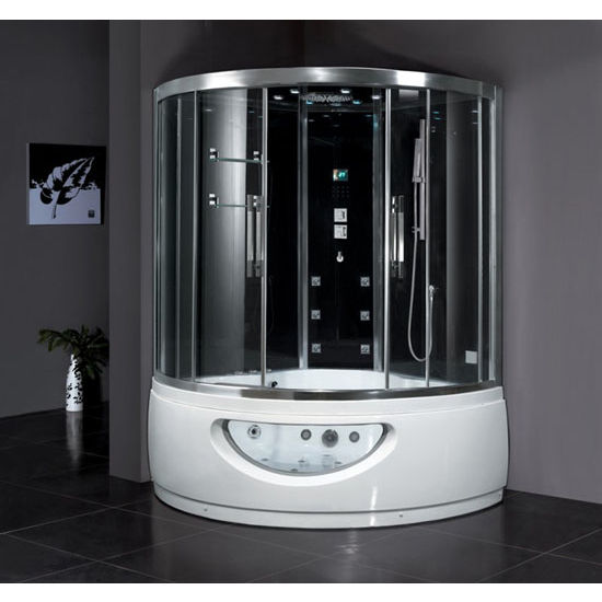 """ARIEL Platinum Collection Steam Shower in Black, 59"""" W x 59"""" D x 89"""" H"""