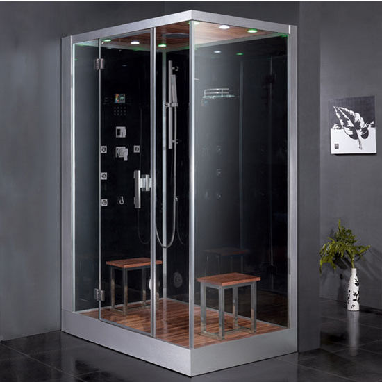 "ARIEL Platinum Collection Steam Shower, Left Side in Black, 59"" W x 35-2/5"" D x 89-1/5"" H"