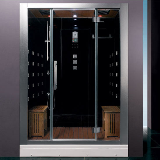 "ARIEL Platinum Collection Steam Shower in Black, 59"" W x 32"" D x 87-2/5"" H"
