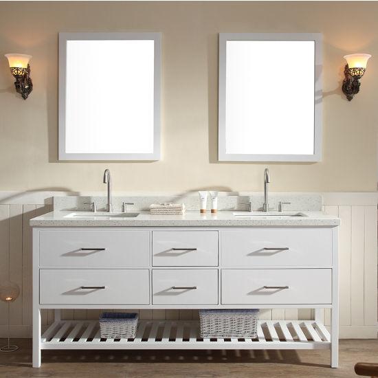 Shakespeare Double Bathroom Vanity With Lower Slatted